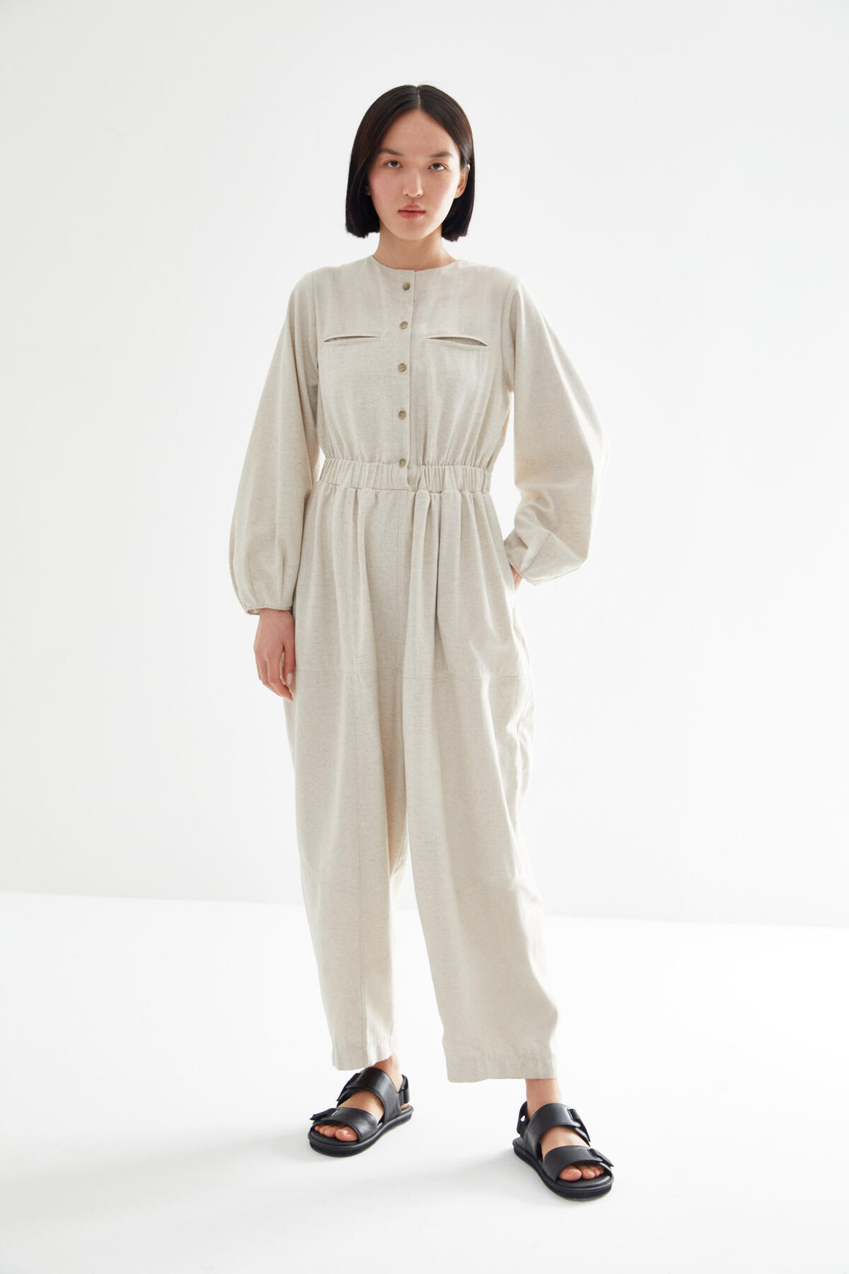 BUTTONED BOMBER OVERALL