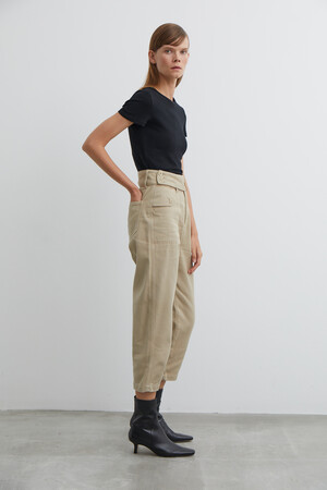 BELTED DENIM TROUSERS - Thumbnail