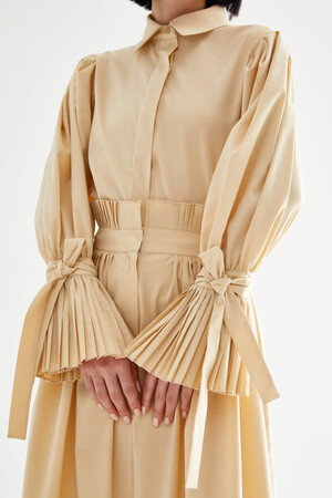 SHIRT WITH PLEATED ARM - Thumbnail
