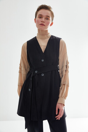VEST SUIT WITH SIDE BELT - Thumbnail