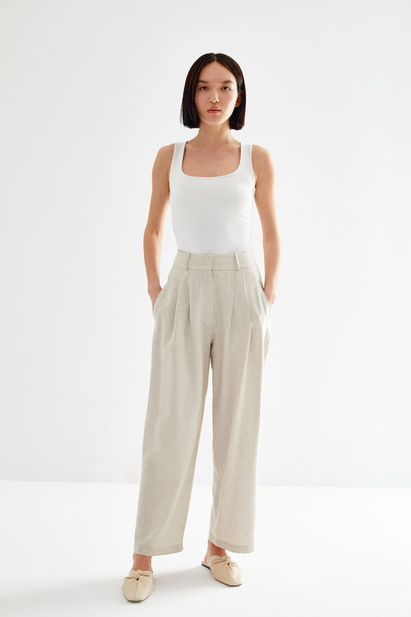 - LINEN PLEATED PANTS