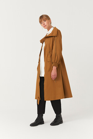 LONG COLLAR SHORT TRENCHCOAT - Thumbnail