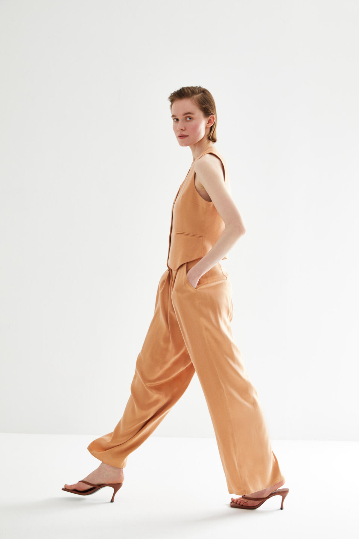 - PLEATED VEGAN TROUSERS